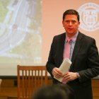 VP Ryan Lombardi speaks at North Campus Expansion forum in GSH on Feb.28. He made a statement on Tuesday morning in response to the appearance of three swastikas in Cornell's North Campus.