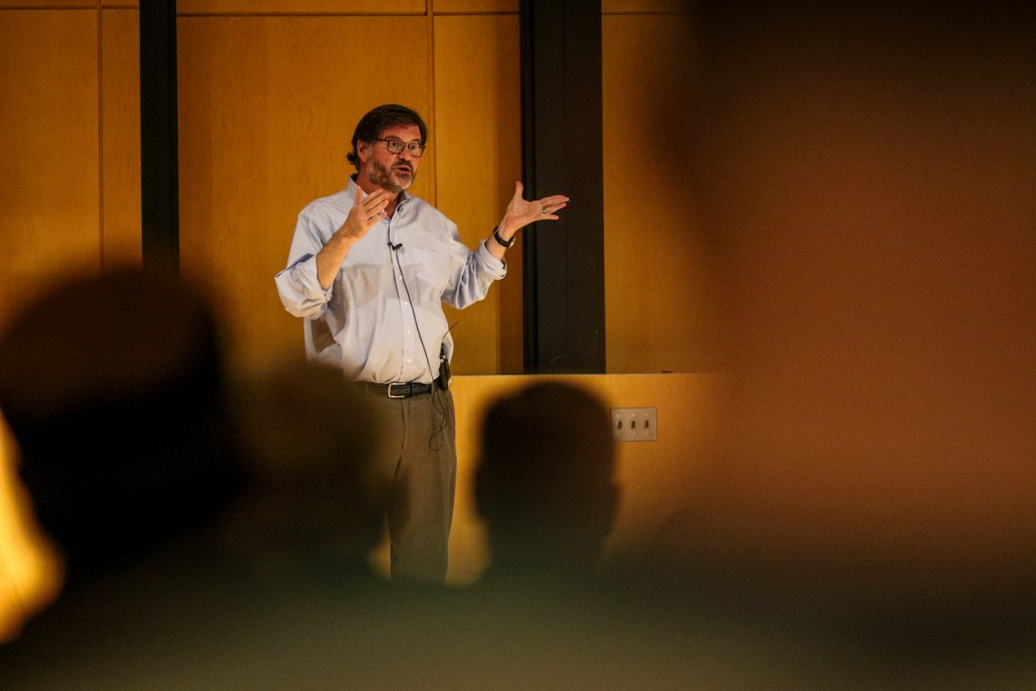 Jonah Goldberg spoke on Thursday in Klarman Hall about divisions and tribalism in society, as well as how to solve these issues.