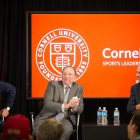(Left to right) Jeremy Schaap '91, ESPN personality, Gary Bettman '74, NHL Commissioner, and Rob Manfred '80, MLB Commissioner, speak at the first ILR Sports Leadership Summit in 2017. The Summit will take place on November 15th in New York City and will have a 15-speaker line-up.