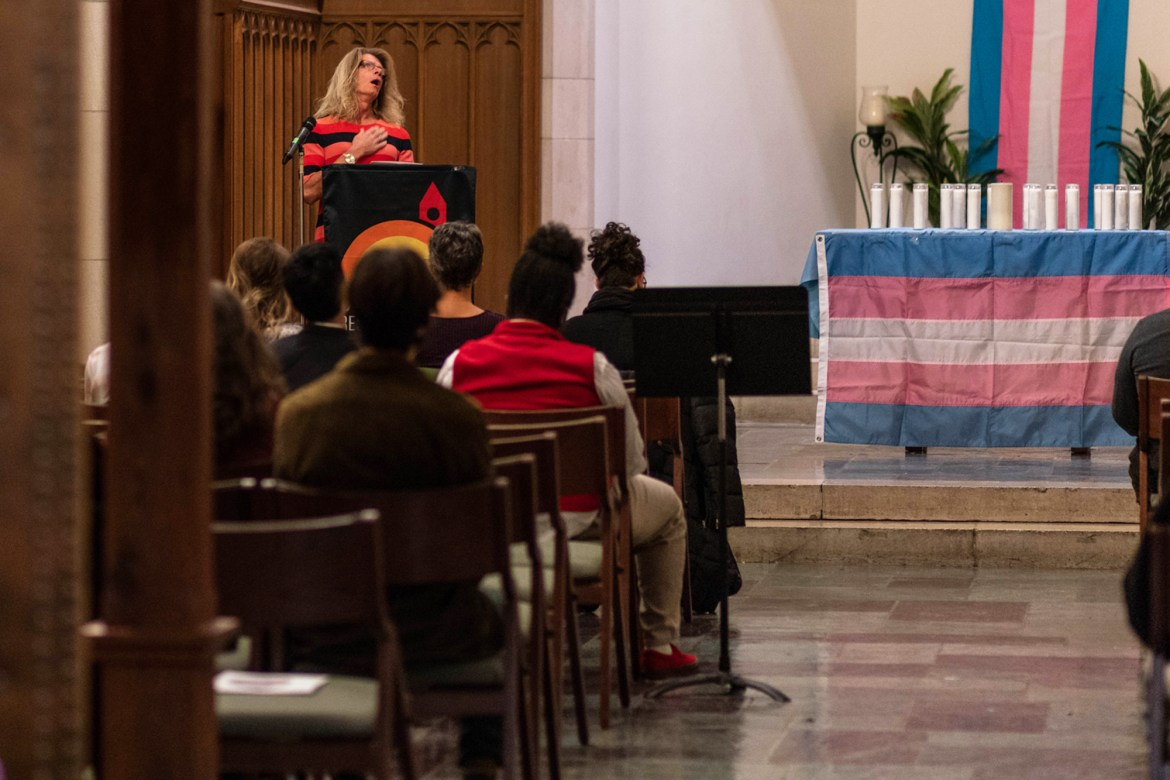 Dozens gather in Anabel Taylor Hall to commemorate the hundreds of transgender individuals who died as a result of violence this year.