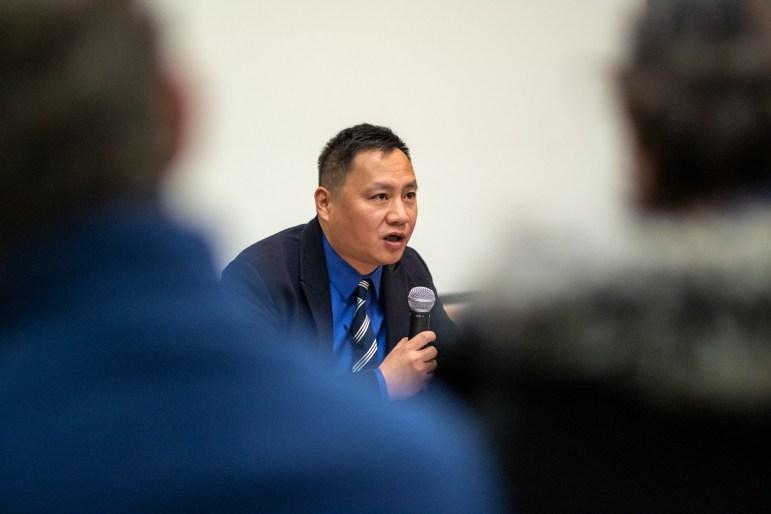 Wang Dan speaks at Goldwin Smith Hall on November 14th, 2018