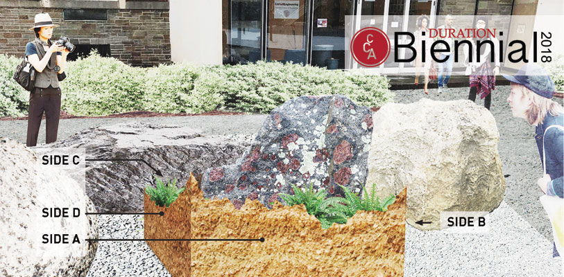 "The ""Crystalline Basement"" exhibition featured massive rocks surrounded by plants on the Engineering Quad, as well as an accompanying film shown in Klarman Hall."