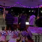 """Wind Down Zones"" were set up outside the Schwartz Performing Arts Center and on the green between Hans Bethe House and Flora Rose House with tents and heaters."
