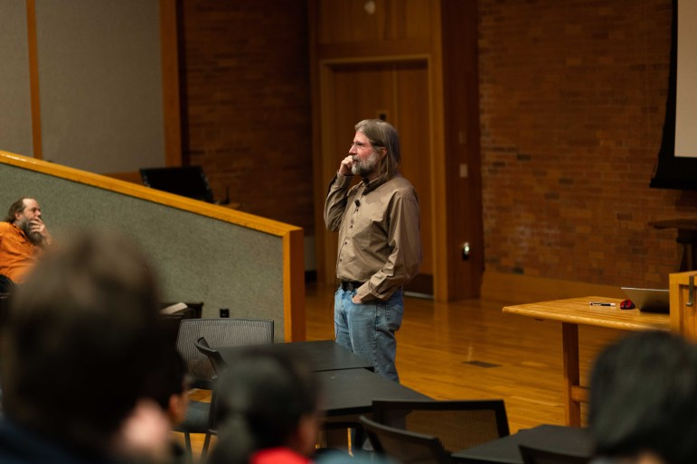 Prof. Paul McEuen, physics, spoke on Monday about the advances in cell-sized technology. (Jose Covarrubias / Sun Staff Photographer)