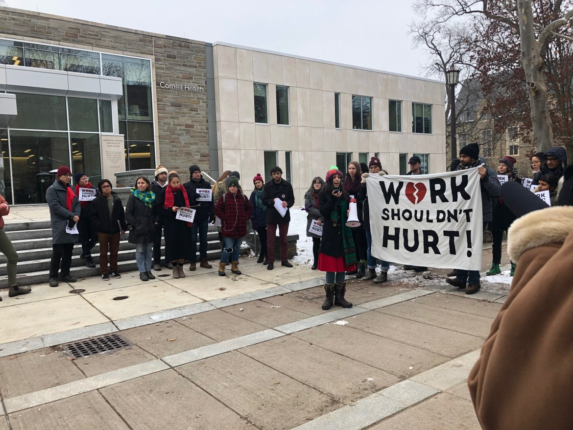 Graduate students like Thea Kozakis grad shared their mental health experiences in front of Cornell Health on Wednesday.