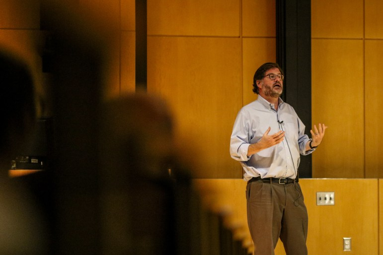 On Thursday, Jonah Goldberg, political analyst and author of The Suicide of the West, spoke about ways to overcome the divisions in society. (Michael Wenye Li / Sun Photography Editor)