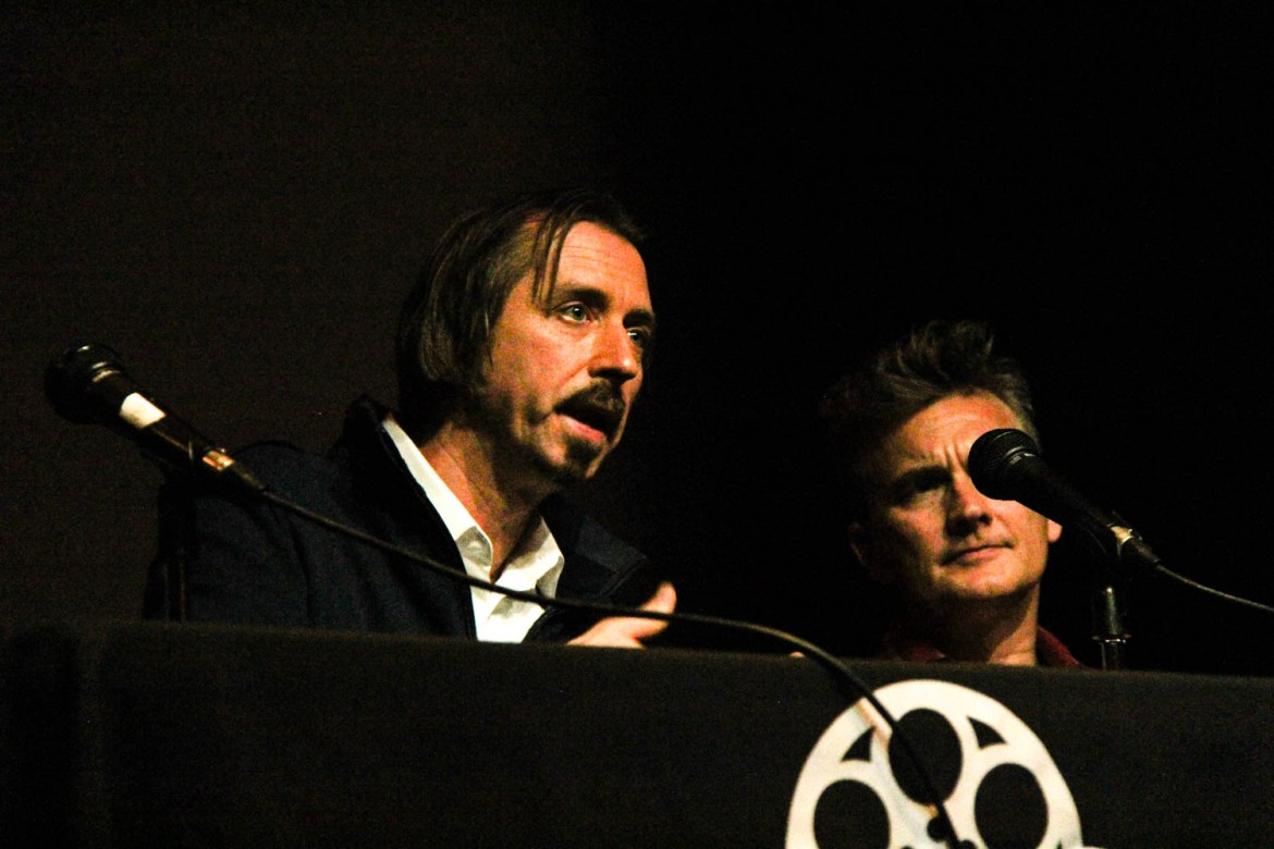 Director Jason Schmitt speaks in a Q&A after a screening of his documentary at Cornell last Thursday.