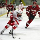 Pictured above in a home game against Harvard in October, Maddie Mills recorded a hat trick to help Cornell to a 6-0 win in Cambridge on Saturday.