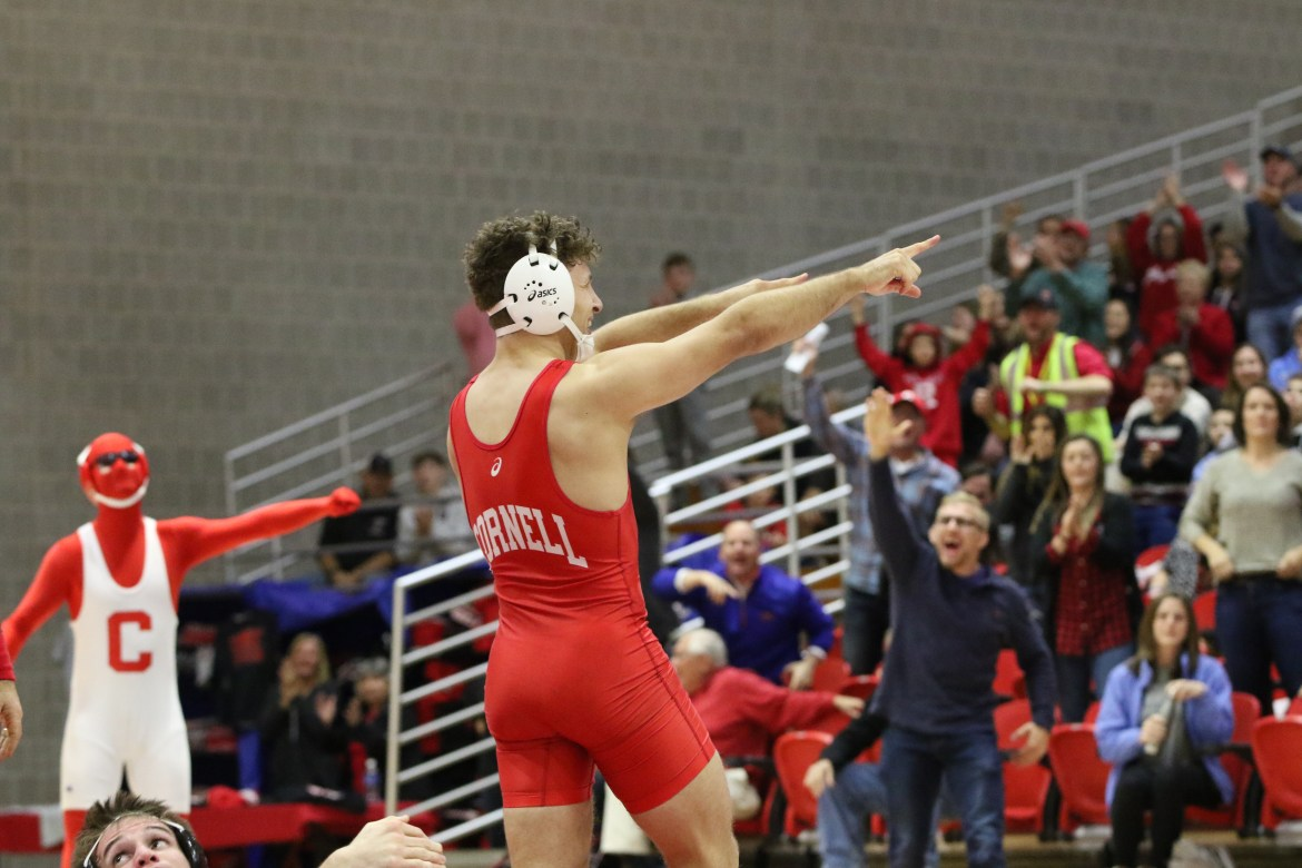 Longtime wrestling head coach Rob Koll surpassed the elusive 300-win barrier as Cornell dispatched Harvard in a 50-0 landslide — the team's widest margin of victory since 2009.