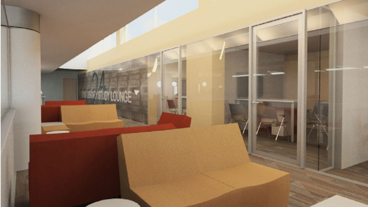 Concept art for what the Cocktail Lounge will look like after renovations.