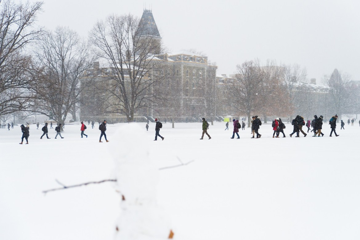 A heavy snow hit Ithaca on February 11, 2018, but the University remained open on that day.