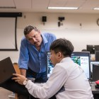 Students learn research skills and  techniques from Professor Sarvary.