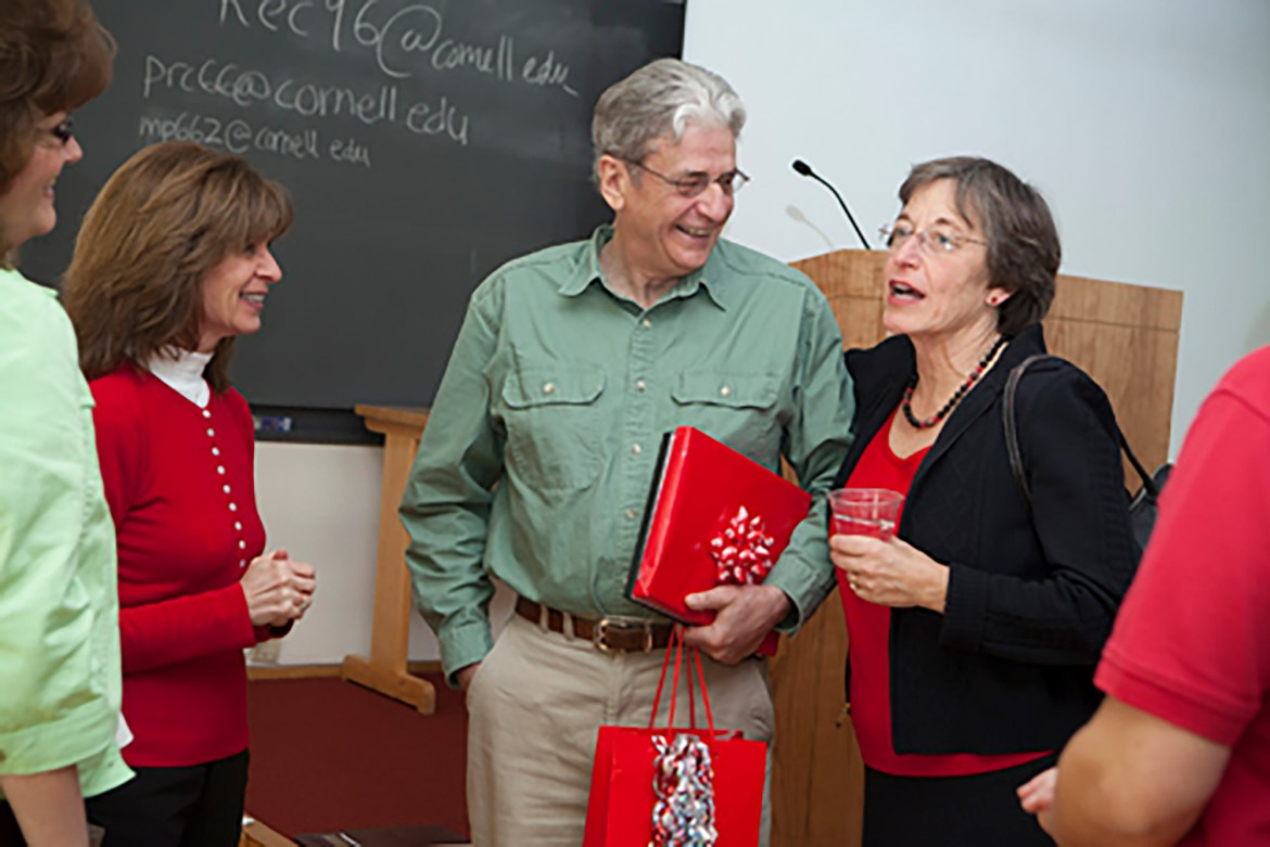 Bill Alberta M.S. '77, middle, is the next speaker in the Soup and Hope series. He founded the Cornell Elves Program, which provides new clothing, toys and blankets to local children.