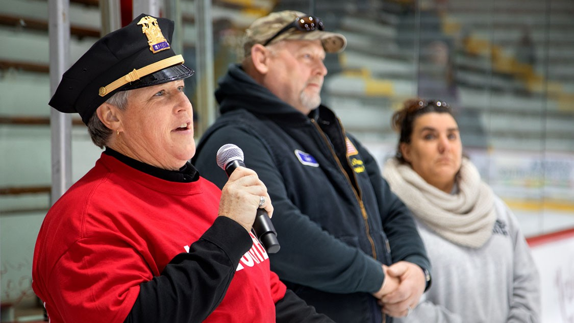 Kathy Zoner, Cornell's police chief since 2009, will leave the University in March for a campus safety consulting firm. She is pictured here at Lynah Rink in November of 2017