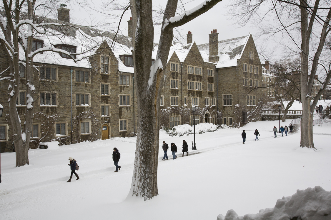 Students trudge through snowy North Campus past Balch Hall.
