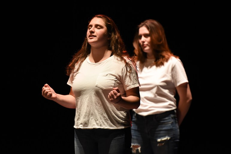 The Vagina Monologues, an annual production sponsored by Cornell Women's Resource Center, took the stage at Bailey Hall on Saturday. (Boris Tsang / Sun Assistant Photography Editor)