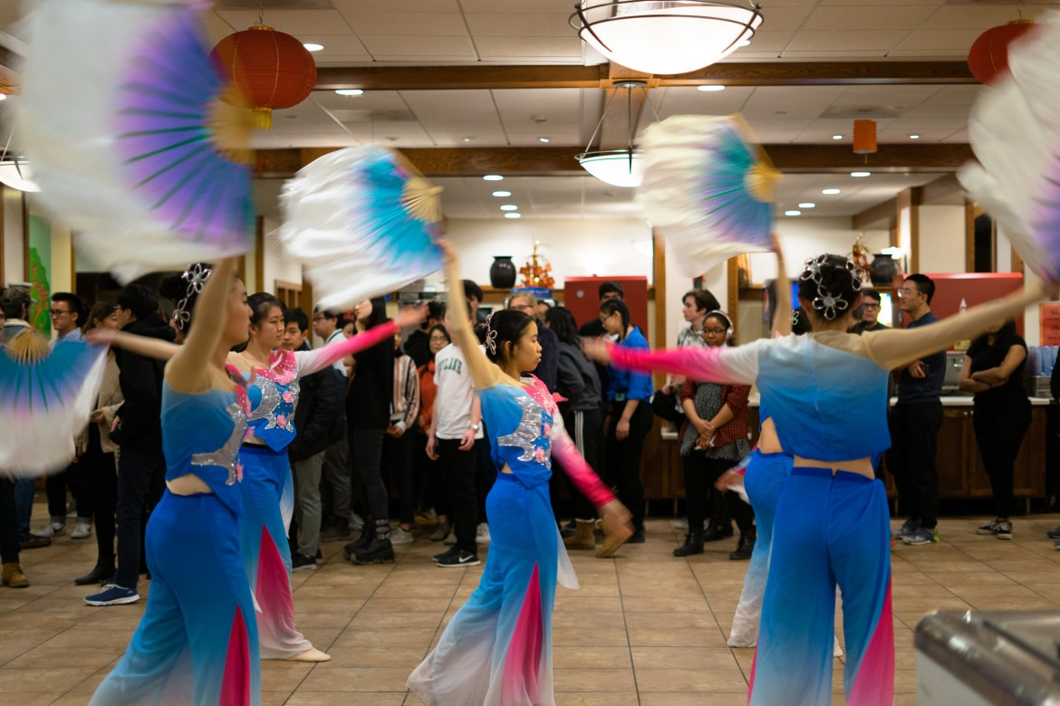 Dancers perform at Okenshields for the Lunar New Year.