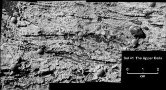 Early signs of past water on Mars, taken by Opportunity in March 2004.