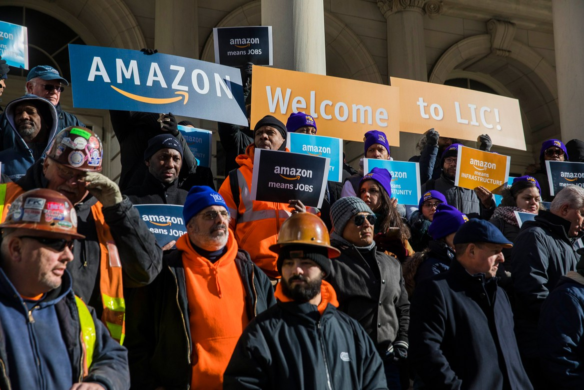 Workers advocate for the addition of an Amazon Headquarters in hopes that it will bring more job opportunities to New York City.