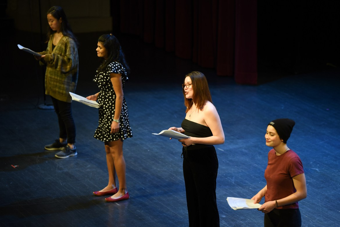 Students perform at Cornell's 21st production of 'The  Vagina Monologues'.