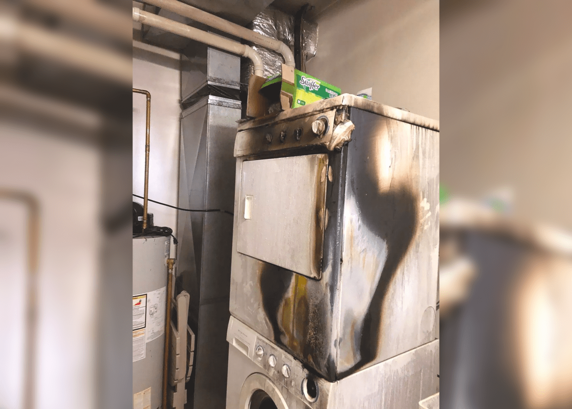 A blaze filled a Summerhill apartment laundry room Saturday afternoon after flames were sparked by a buildup of lint.