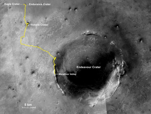 Opportunity's long journey from its landing site near Eagle Crater to the lip of the Endeavor Crater.