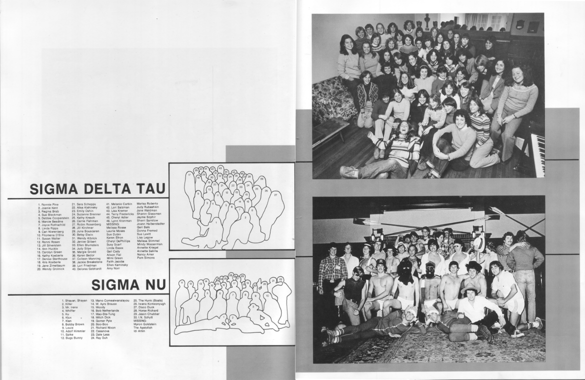 "Captions printed next to the photograph of the Sigma Nu fraternity in the 1980 edition of the Cornellian include altered names such as ""Adolf Himmler,"" ""Bugs Bunny"" and ""The Ayatollah."""