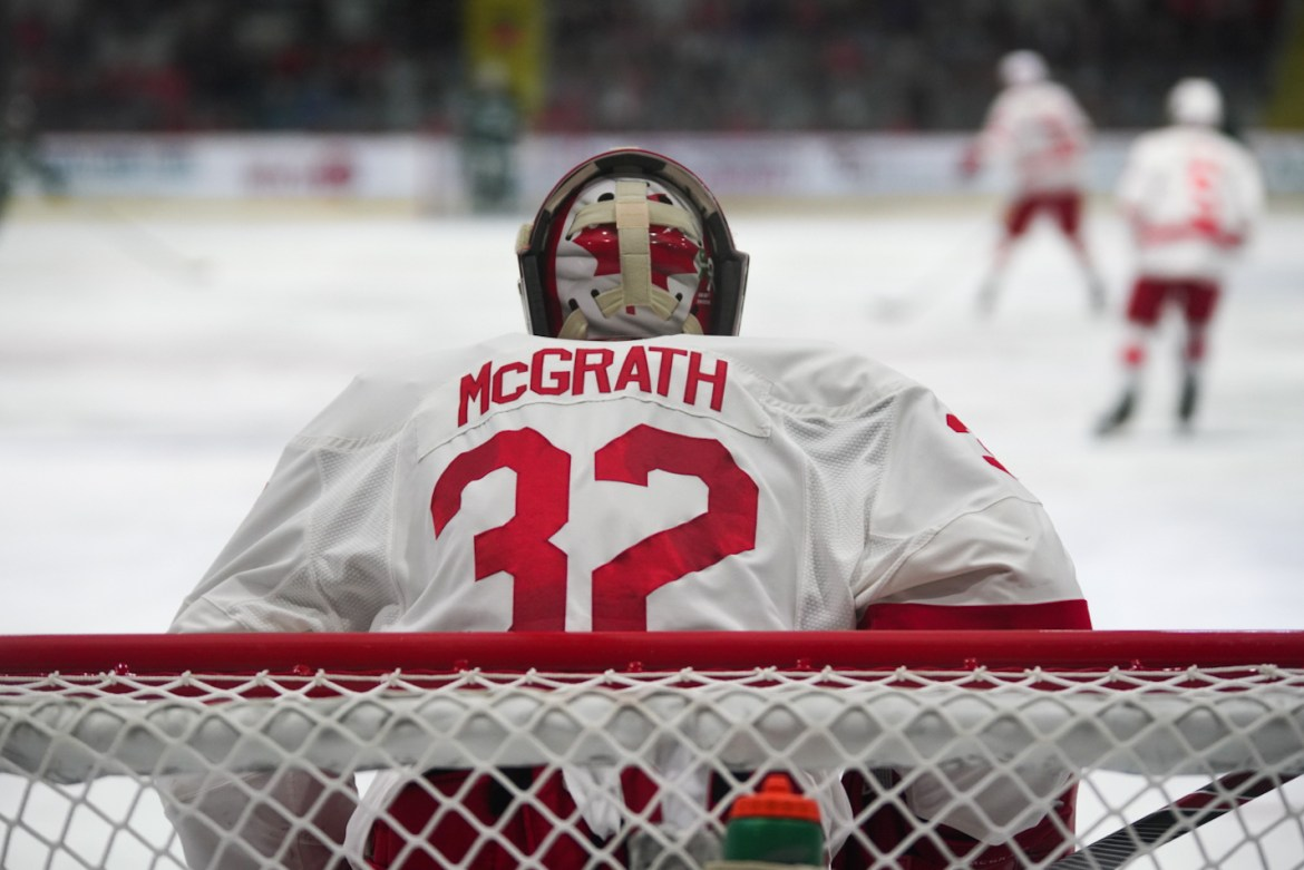 Austin McGrath looks on in Cornell's 5-1 win over Dartmouth earlier in the season. His rise to prominence has been no surprise to Cornell.