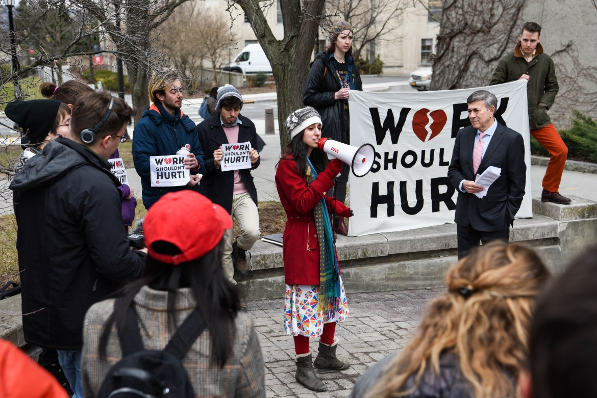 Graduate students participating in the CGSU rally outside Uris Hall on March 21st, 2019.