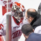 Sophomore goaltender Matt Galajda left the ECAC championship game with an injury during overtime after getting tangled up in his net.