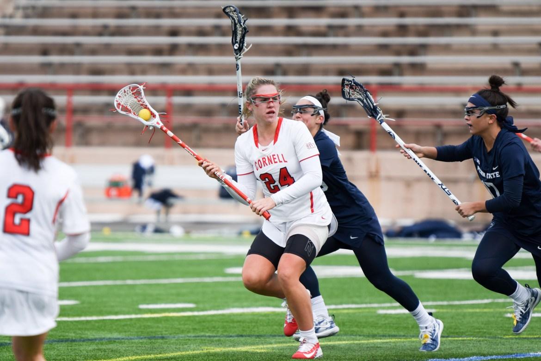 Caroline Allen scored two goals in Cornell's win over Harvard.