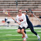 Caroline Allen scored two goals in Cornell's win over Harvard.