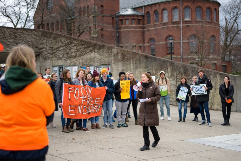 Cornell Prof. Caroline Levine speaks at the rally on Friday.