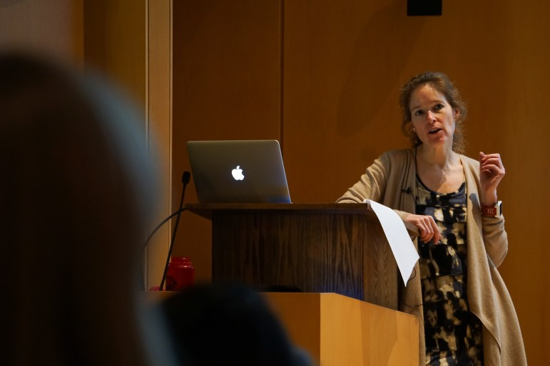 Former Cornell senior lecturer Dr. Susan Fleming spoke on Thursday about how women were less likely to negotiate their salaries than men were and provided advice on ways women could overcome this. (Michelle Yang / Sun Staff Photographer)