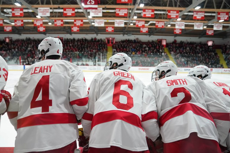 Down 3-2 against Union in the third period on Friday, the Cornell men's hockey bench eagerly awaits a goal that never came. (Ben Parker / Sun Assistant Photography Editor)