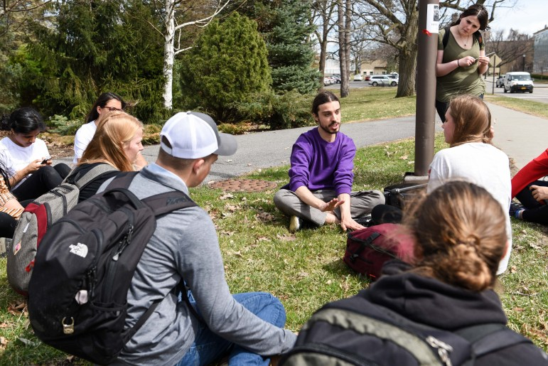 Earthling Ed, center, speaks with students at Diary Alternative Day.