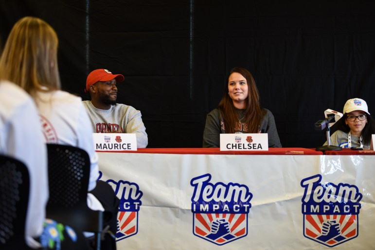 """Karina Hill's parents joined their daughter at Monday's press conference. Karina's mother, Chelsea, said the Cornell basketball players had become """"like family"""" for her daughter."""