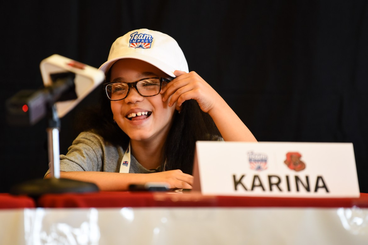 Thanks to a partnership with nonprofit organization Team IMPACT, 7 year-old Karina Hill is the newest addition to Cornell women's basketball's roster.