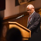Tom Jones '69 addresses an audience in the Memorial Room of Willard Straight Hall on April 24th, 2019.