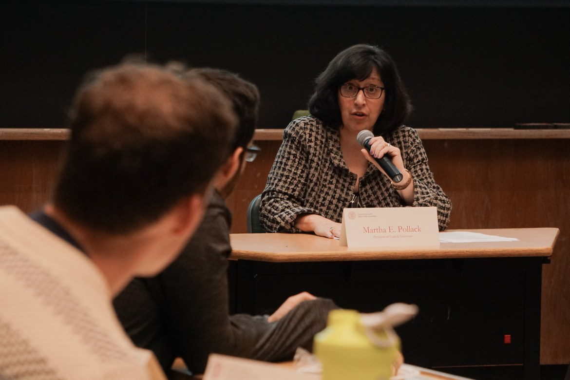 President Martha E. Pollack addressed student concerns at a GPSA meeting on Monday.