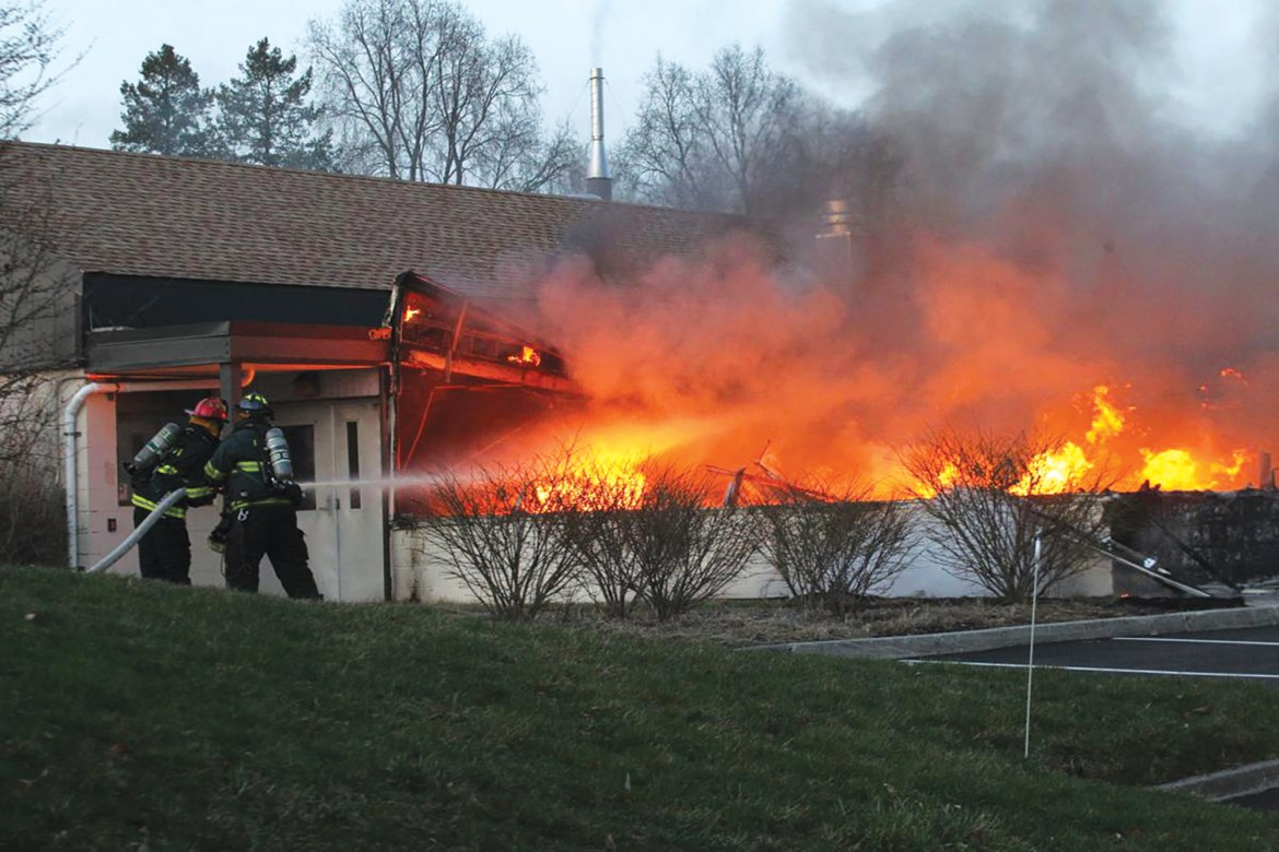 Firefighters worked to stop the blaze at Cornell's Geneva campus late Saturday evening.