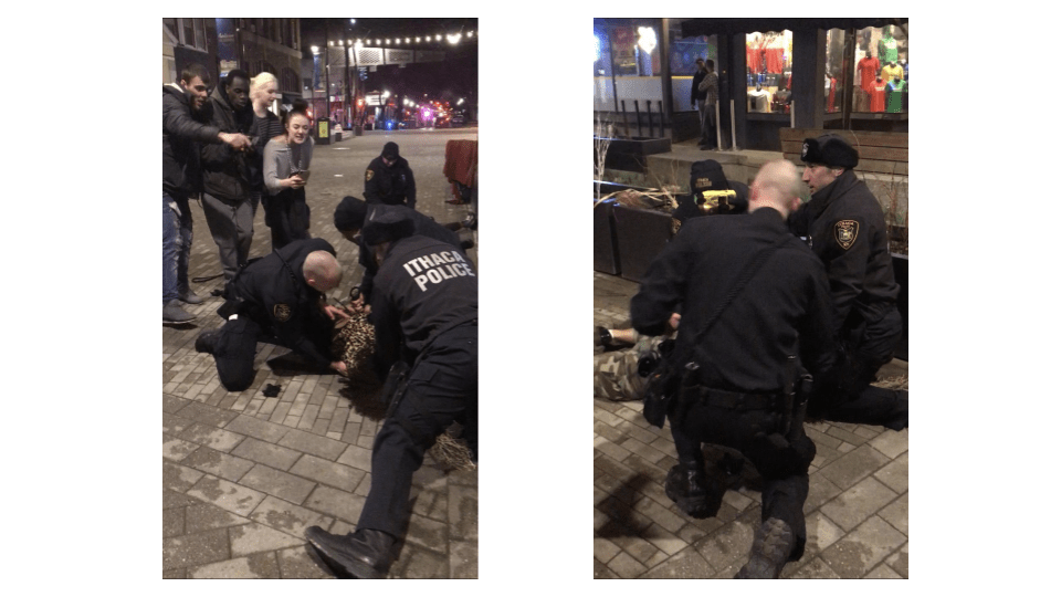 Officers arrested the 22-year-old Ithaca woman on the Commons shortly after bars closed Saturday morning, tackling her to the ground in front of a small crowd.