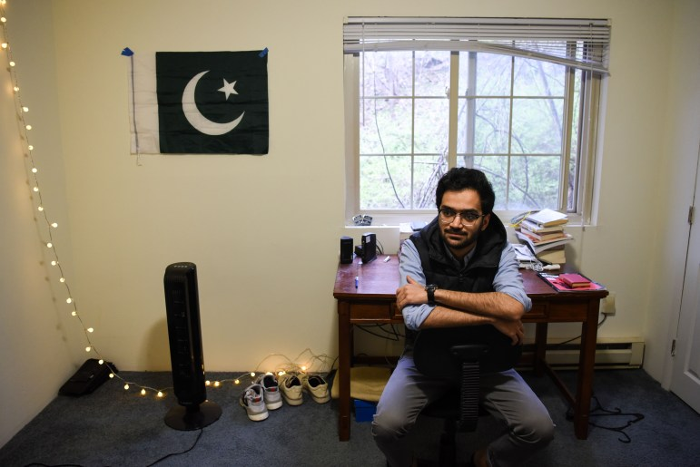 Hassaan Sabir '21, of Islamabad, Pakistan, in his Ithaca apartment.