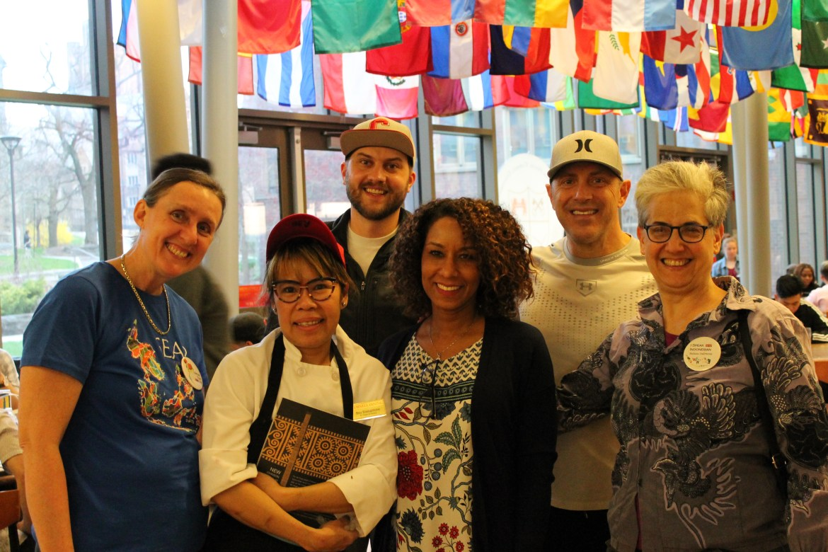 Bey Sisouphone (second from left), a Cornell Dining employee, has been helping teach a new Cornell language class on her native language Lao.