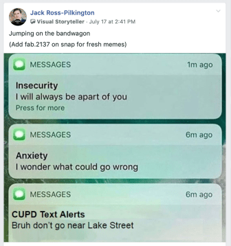 Memes like this one, making light of the plethora of alerts, flooded the Cornell Facebook meme page.
