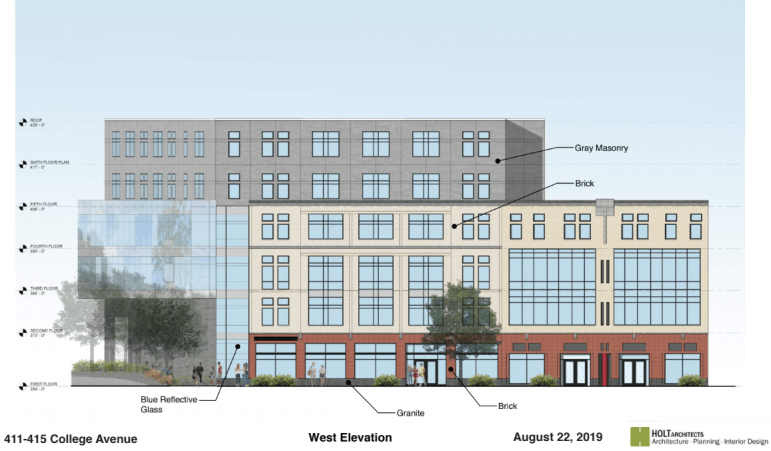 Sketches show what the building may look like. Developer tried include elements of the existing street design.