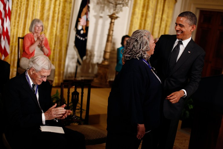 Toni Morrison M.A. '55 and President Barack Obama at the Presidential Medal of Freedom ceremony.