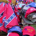 Confederate flags on sale alongside 'Make America Great Again' apparel at the Delaware State Fair in 2016.