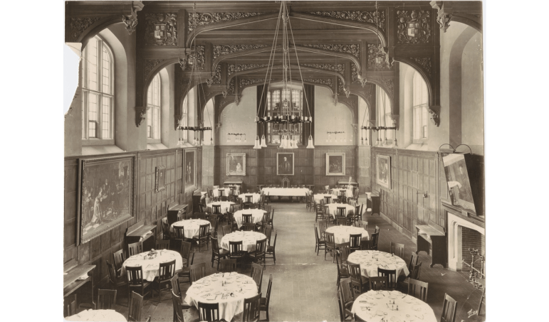 A 1927 picture of Risley's dining hall, which is modeled after a building at Oxford University. At this time, the hall only housed women.