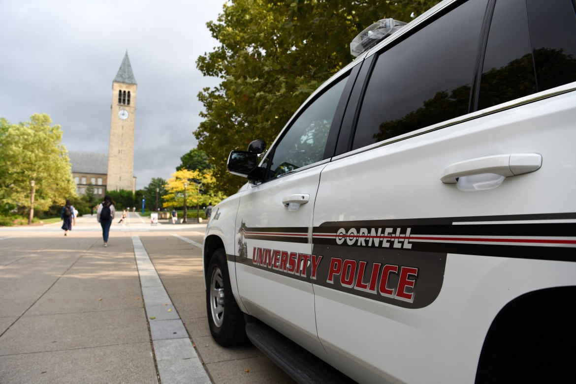 Cornell University Police car on Ho Plaza on September 21st, 2018.